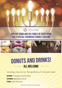 Donuts and Drinks at the Rabbi's house for Chanukah
